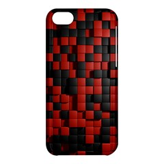 Black Red Tiles Checkerboard Apple iPhone 5C Hardshell Case
