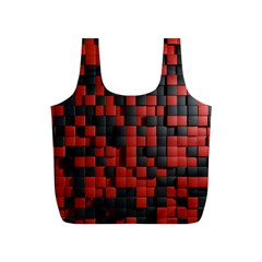 Black Red Tiles Checkerboard Full Print Recycle Bags (s)