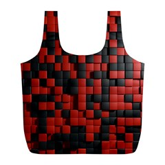 Black Red Tiles Checkerboard Full Print Recycle Bags (l)
