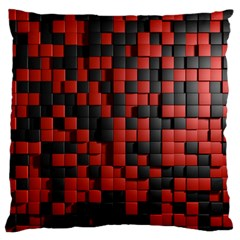 Black Red Tiles Checkerboard Large Flano Cushion Case (two Sides)