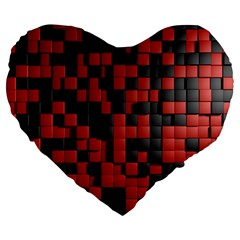 Black Red Tiles Checkerboard Large 19  Premium Flano Heart Shape Cushions