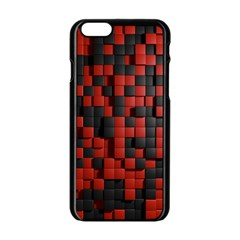 Black Red Tiles Checkerboard Apple iPhone 6/6S Black Enamel Case