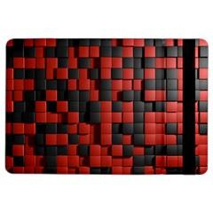 Black Red Tiles Checkerboard iPad Air 2 Flip
