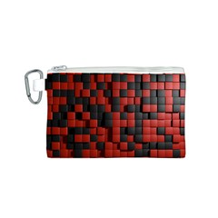Black Red Tiles Checkerboard Canvas Cosmetic Bag (s)