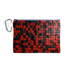 Black Red Tiles Checkerboard Canvas Cosmetic Bag (m)