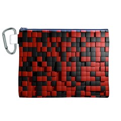 Black Red Tiles Checkerboard Canvas Cosmetic Bag (xl)