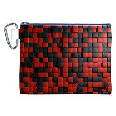 Black Red Tiles Checkerboard Canvas Cosmetic Bag (xxl)