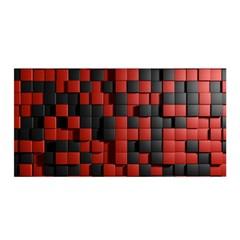 Black Red Tiles Checkerboard Satin Wrap