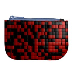 Black Red Tiles Checkerboard Large Coin Purse