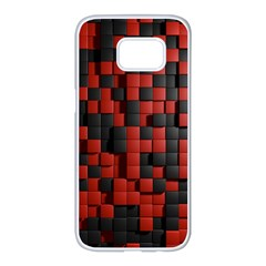 Black Red Tiles Checkerboard Samsung Galaxy S7 Edge White Seamless Case