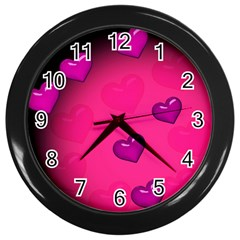 Background Heart Valentine S Day Wall Clocks (black)