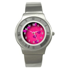 Background Heart Valentine S Day Stainless Steel Watch