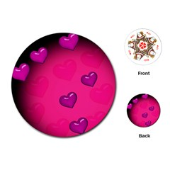 Background Heart Valentine S Day Playing Cards (round)