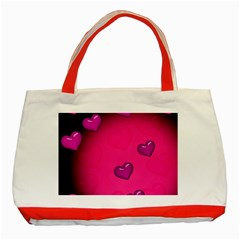 Background Heart Valentine S Day Classic Tote Bag (red)