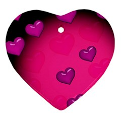 Background Heart Valentine S Day Heart Ornament (two Sides)