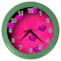 Background Heart Valentine S Day Color Wall Clocks