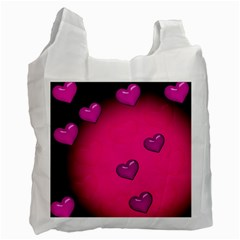 Background Heart Valentine S Day Recycle Bag (two Side)