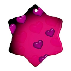 Background Heart Valentine S Day Snowflake Ornament (Two Sides)