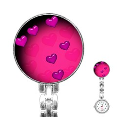 Background Heart Valentine S Day Stainless Steel Nurses Watch