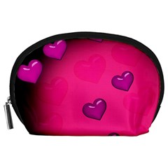 Background Heart Valentine S Day Accessory Pouches (large)