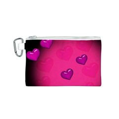 Background Heart Valentine S Day Canvas Cosmetic Bag (S)