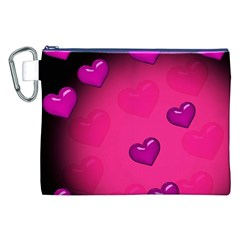 Background Heart Valentine S Day Canvas Cosmetic Bag (XXL)