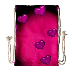 Background Heart Valentine S Day Drawstring Bag (large)