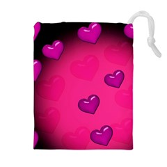 Background Heart Valentine S Day Drawstring Pouches (Extra Large)