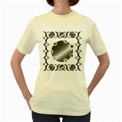Metal Circle Background Ring Women s Yellow T Shirt