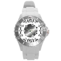 Metal Circle Background Ring Round Plastic Sport Watch (l)