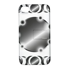 Metal Circle Background Ring Apple Iphone 4/4s Hardshell Case With Stand