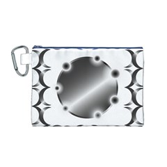 Metal Circle Background Ring Canvas Cosmetic Bag (m)