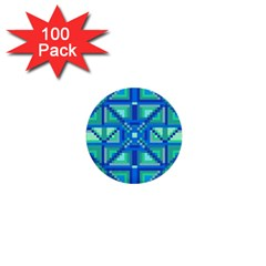 Grid Geometric Pattern Colorful 1  Mini Buttons (100 Pack)