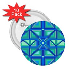 Grid Geometric Pattern Colorful 2.25  Buttons (10 pack)
