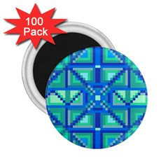 Grid Geometric Pattern Colorful 2 25  Magnets (100 Pack)