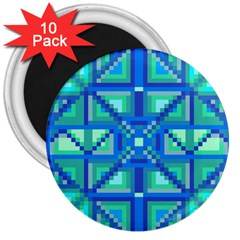 Grid Geometric Pattern Colorful 3  Magnets (10 pack)