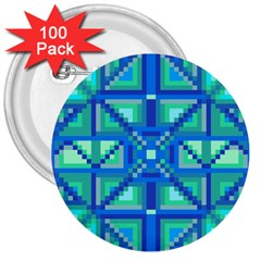 Grid Geometric Pattern Colorful 3  Buttons (100 Pack)