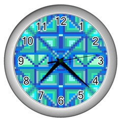 Grid Geometric Pattern Colorful Wall Clocks (Silver)