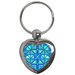 Grid Geometric Pattern Colorful Key Chains (heart)