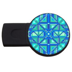 Grid Geometric Pattern Colorful Usb Flash Drive Round (2 Gb)