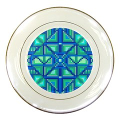 Grid Geometric Pattern Colorful Porcelain Plates