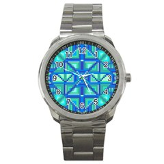 Grid Geometric Pattern Colorful Sport Metal Watch
