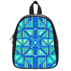 Grid Geometric Pattern Colorful School Bags (small)