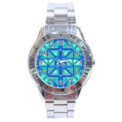 Grid Geometric Pattern Colorful Stainless Steel Analogue Watch