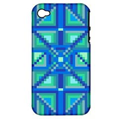 Grid Geometric Pattern Colorful Apple iPhone 4/4S Hardshell Case (PC+Silicone)
