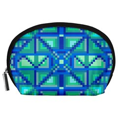 Grid Geometric Pattern Colorful Accessory Pouches (large)