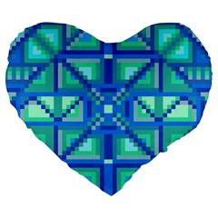 Grid Geometric Pattern Colorful Large 19  Premium Flano Heart Shape Cushions