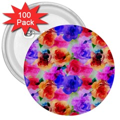 Floral Pattern Background Seamless 3  Buttons (100 Pack)