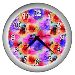 Floral Pattern Background Seamless Wall Clocks (Silver)