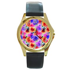 Floral Pattern Background Seamless Round Gold Metal Watch